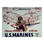Always Advance With U.S. Marines Poster