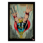 Thor Flying Through City Comic Panel Poster